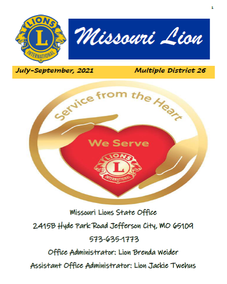 Cover Page Of Missouri Lions Newsletter